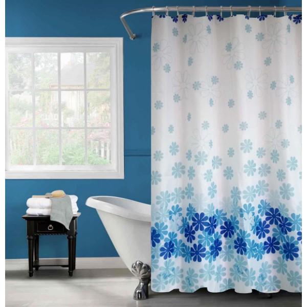 """Шторка для ванной """"Цветочный дождь"""" голубая"""